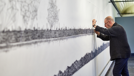 Drawing Artist in Residence Alexander Brodsky on display at Cityscapes Foundation